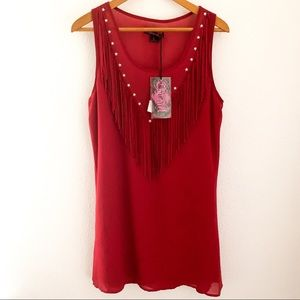 Cowgirl Red Frayed Star Dress